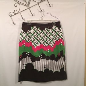 Etcetera Butterfly Clouds Pink Green Skirt Size 10